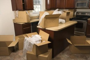 Moving boxes in kitchen.