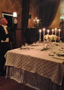 Butler polishing the silver at Lex 18's Downton Abbey events on Sundays in Asheville