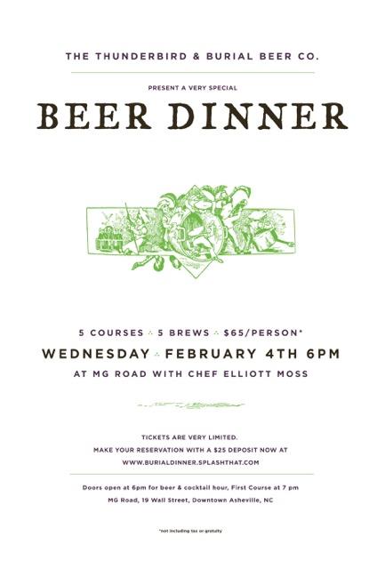 Burial Beer Dinner at MG Road