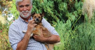 man with dark tan and white hair holding small mixed breed brown dog in his arms